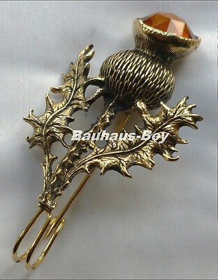 GILT PEWTER KILT PIN HIGHLAND THISTLE FAUX CAIRNGORM SET STONE by MIRACLE KILTS