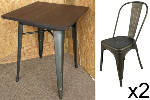 TOLIX TARNISHED METAL SEAT CHAIRS TABLES WOOD RETRO FRENCH BISTRO BAR CAFE STEEL