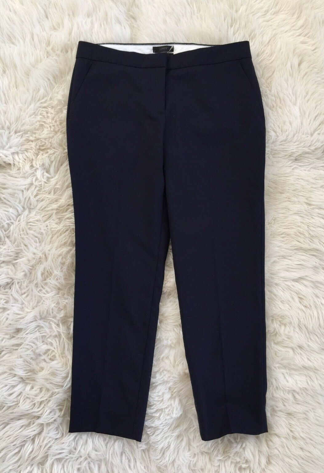 138 NWT JCREW Petite Paley Pants in Super 120s Navy 8P 52406  SPRING '17