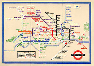 Large Tube Map Of London.Large Framed Print Vintage 1933 London Underground Tube Map Picture Poster Ebay