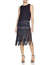 CYNTHIA VINCENT Black Blue Red Embroidered Exposed Back Fringe Flapper Dress 4
