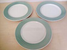 "3 ""A Step Beyond"" Italian Dinner Plates, Teal/ Green/ Celadon Rims 10 3/8'' Dia"