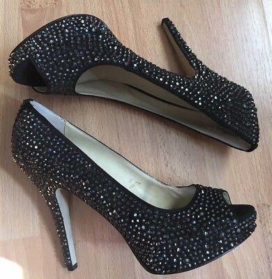 Enzo Angiolini Womens open toe bling crystal Platform High Heel Black Shoe 7.5