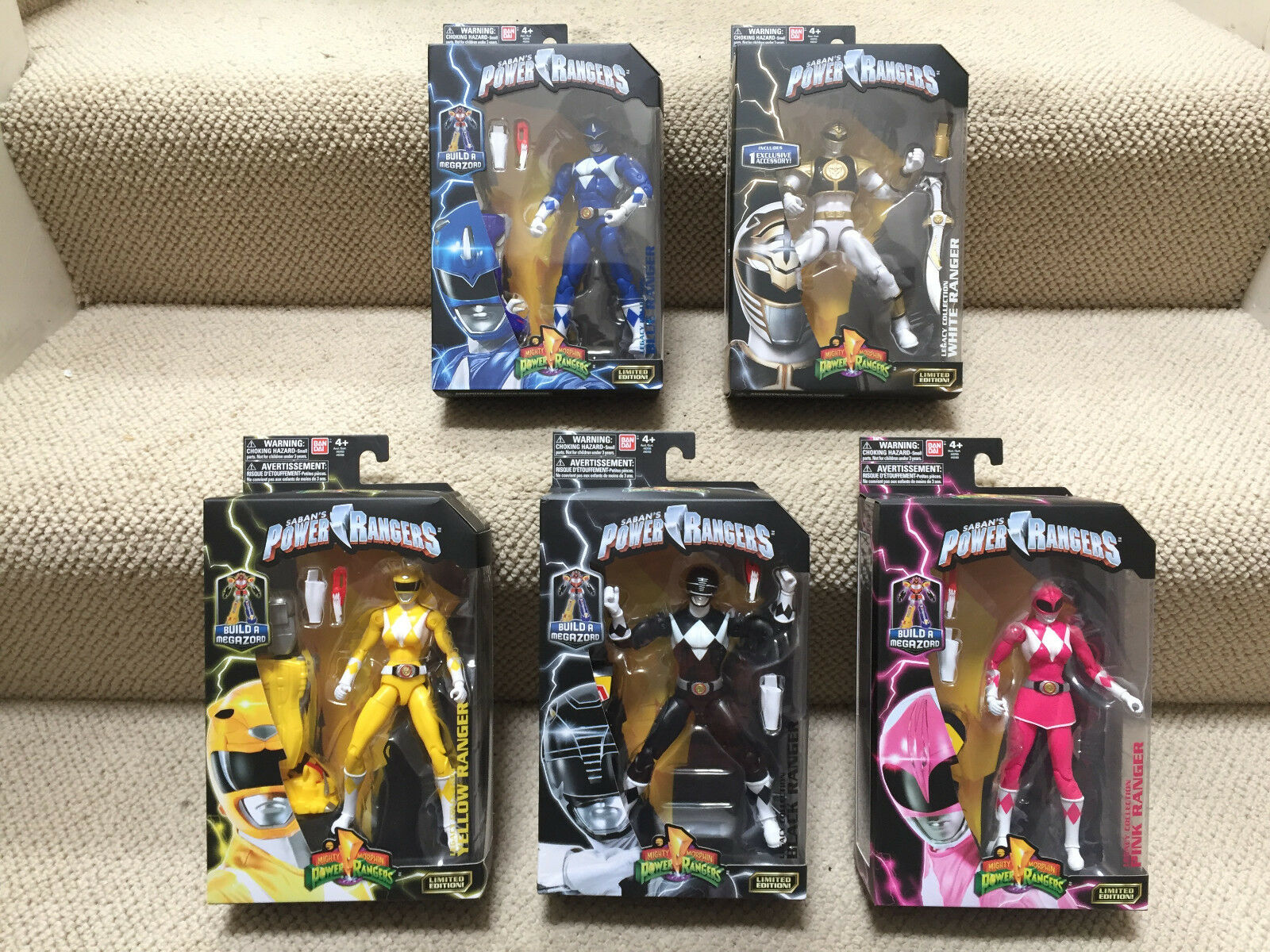 Lot de 5  Legacy Power Rangers Blanc Rose Bleu Jaune & Noir Figure toys Mighty Morphin Power Rangers