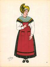 Gravure d'Emile Gallois costume des provinces françaises 1950 Bourbonnais