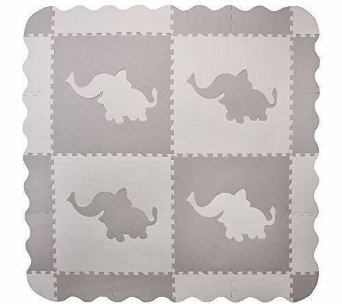 4 Large Interlocking Gray Foam Baby Play Mat With