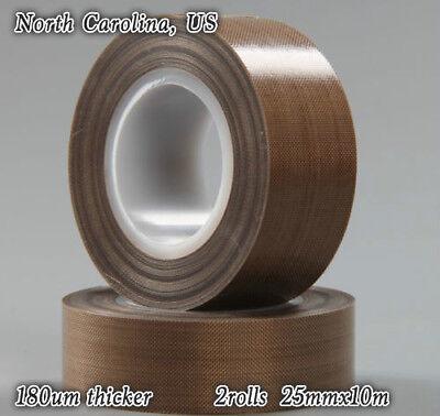 """PTFE Teflon Tape adhesive 2/"""" 10m 180um thicker 662℉ high-temp Fibreglass US"""
