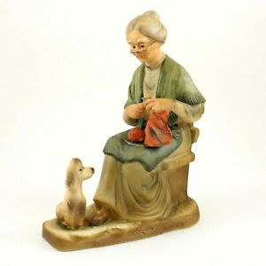 Vintage Price Imports Japan Old Woman Knitting w/ Poodle at Feet Porcelain RARE!
