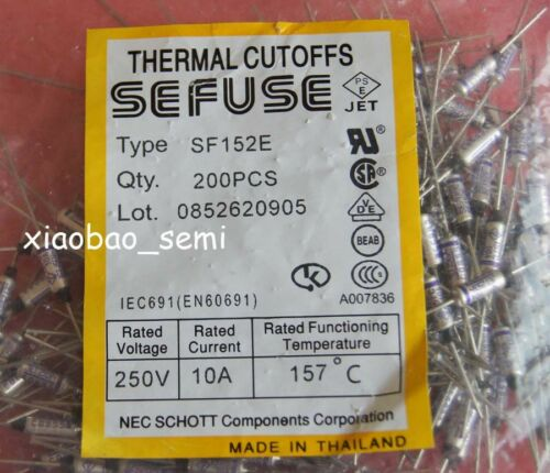20PCS SF152E SEFUSE Cutoffs NEC Thermal Fuse 157°C 157 Degree 10A 250V