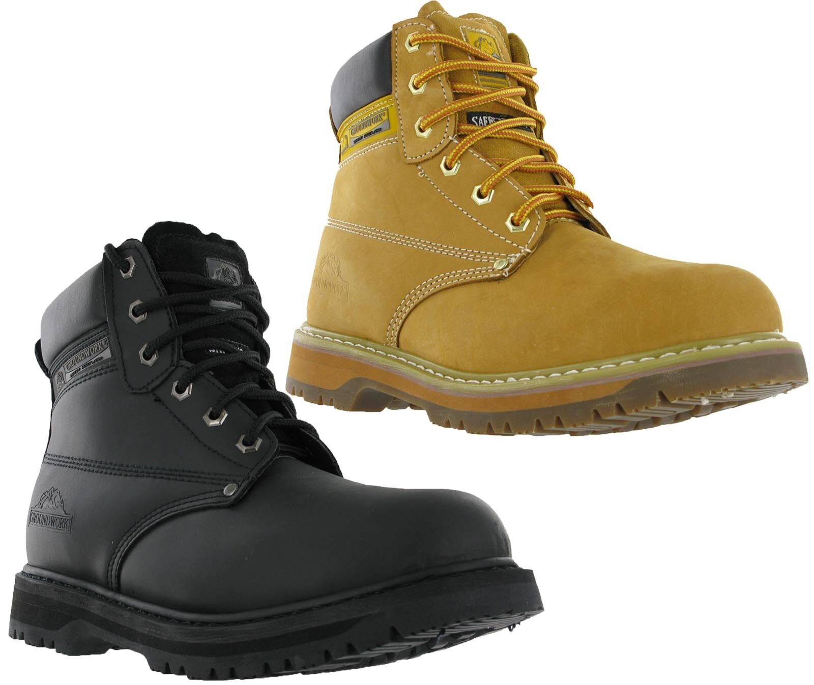 Groundwork Mens Leather Safety Steel Toe Cap Work Boots shoes UK4-13