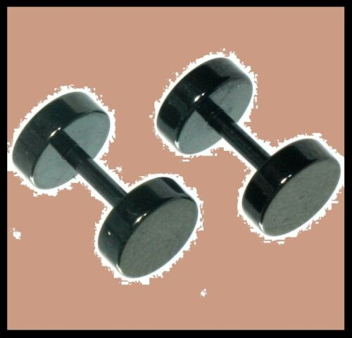 Quality Black 8mm Fake EAR STRETCHER Round Expander Plug Tribal Stainless Steel