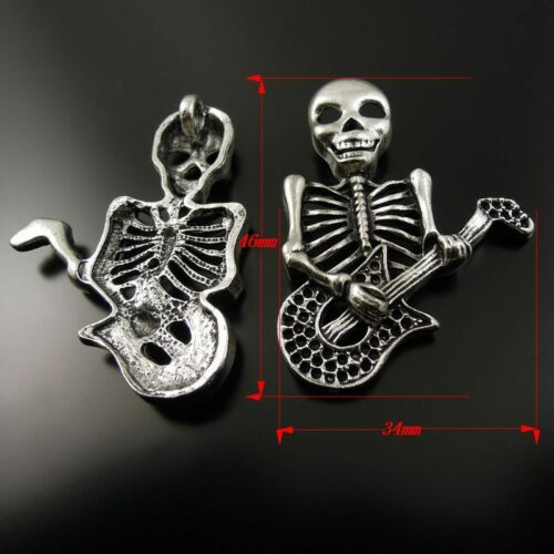 10pcs Vintage Silver Tone Gothic Skull Playing Guitar Pendants Charms 46*34*4mm
