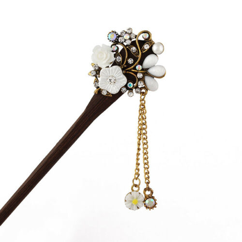 Chinese Style Wood Rhinestone Hair Chopsticks Hair Stick Hairpin Chignon Pin