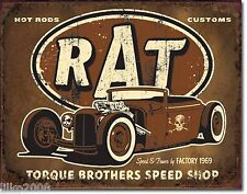 RAT ROD/ HOT ROD- TORQUE SHOP; ANTIQUE-STYLE METAL WALL SIGN 40X30CM SKULL,USA