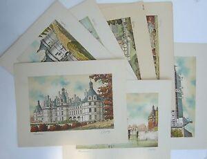 Chateaux-de-la-Loire-Lot-de-7-Lithographies-Barday-d-039-epoque-1940-50