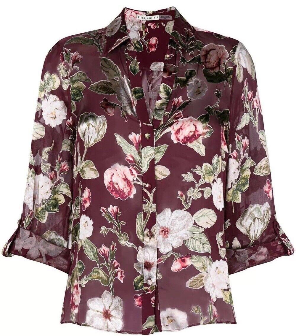 Alice + Olivia Eloise Sheer Button Down Blouse Floral Top Größe XS NWOT