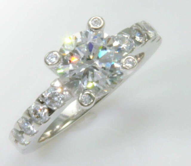 2 ct Stunning Bezeled Prong Set Ring Top Russian Quality CZ Extra Brilliant Sz 6