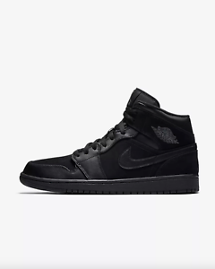 new arrival c21d2 5f1ca Image is loading AIR-JORDAN-1-MID-Mens-554724-050-Black-