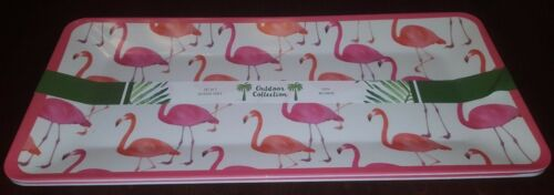 """Set Of 2 Tropical Flamingo Platter Trays  17/"""" x 8/"""" by Outdoor Collection New"""