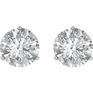 7e9c21f6e 14k Solid White Gold Swarovski CZ Martini 3 Prong Stud Earrings | eBay
