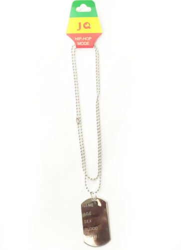 FANCY DRESS ACCESSORY ARMY DOG TAG CAMOFLAUGE STAG HEN CHAIN MILITARY NECKLACE