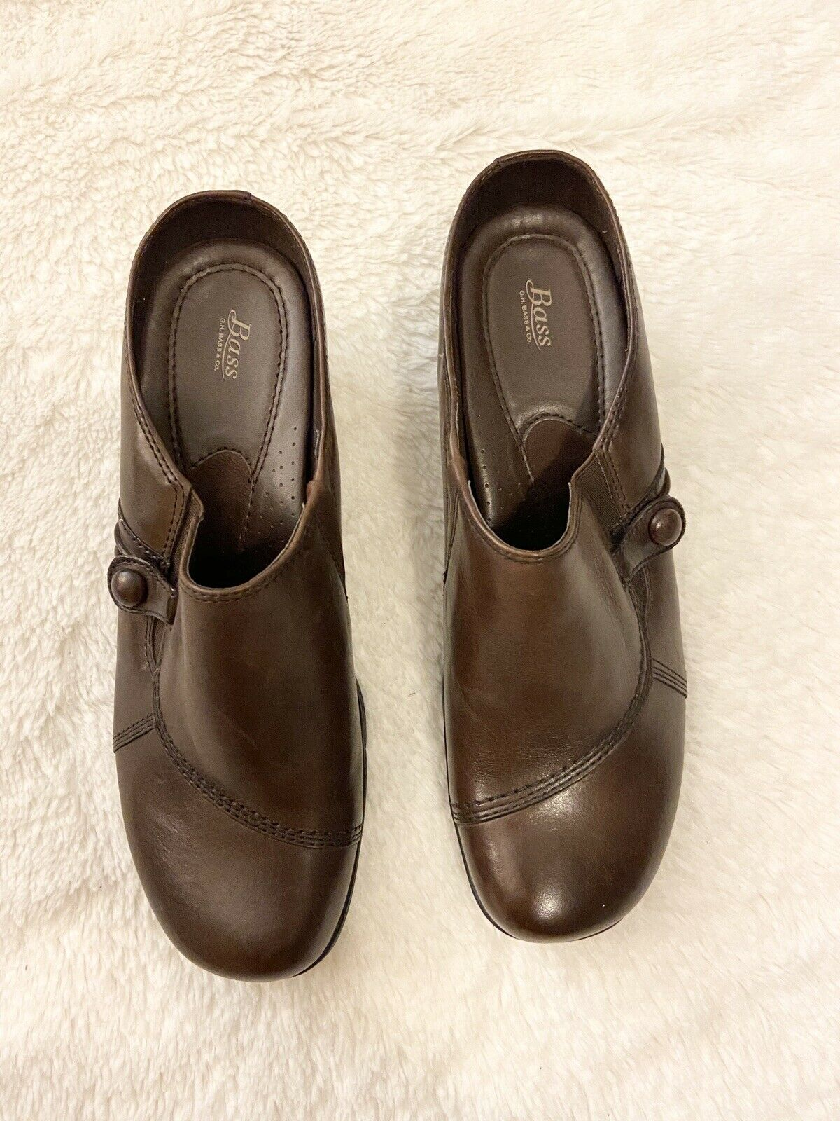 NWOT Bass Bryanna brown leather clogs mules Career Shoes