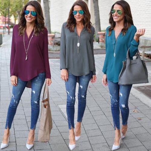 Women Loose Long Sleeve V Neck Chiffon Casual Solid Blouse Shirt Tops Blouse
