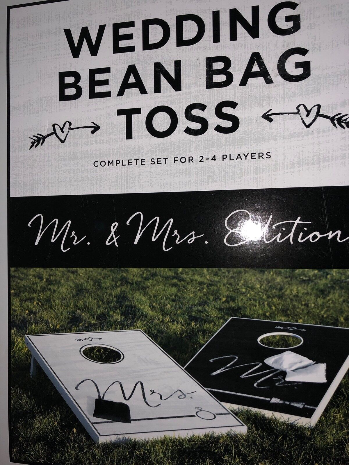 Wooden Corn hole Boards w Bags- Mr & Mrs Edition Wedding Bean Bag Toss Game Set