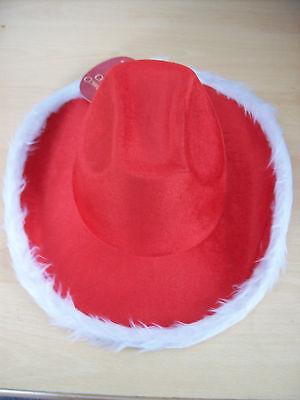 Bello Cappello Donna Rosso E Bianco Cowgirl Cappello Natale Country & Western Nuovo Con Etichette-mostra Il Titolo Originale