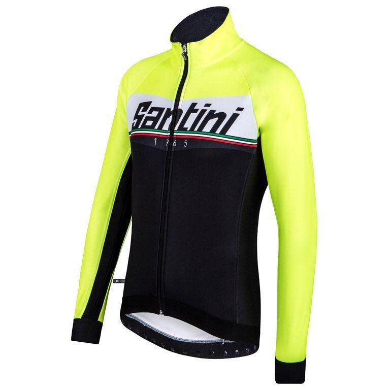 Meridian Ciclismo Resistente Al Viento chaqueta  en negro amarillo Hecho En Italia Por Santini  Obtén lo ultimo