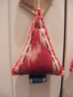 Crate & Barrel Red White & Green Ikat Tie Dye Christmas Tree Shaped Ornament