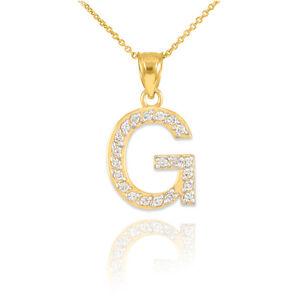 10k 14k gold letter g diamond initial pendant necklace ebay image is loading 10k 14k gold letter 034 g 034 diamond mozeypictures Gallery
