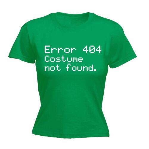 Women/'s Error 404 Costume Not Found Funny Halloween Geek Nerd IT FITTED T-SHIRT