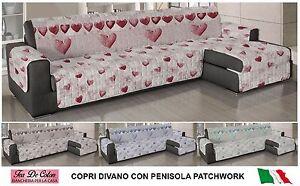 Copridivano salvadivano trapuntato con penisola patchwork cuori sparsi shabby ebay - Copridivano per divano con penisola ...
