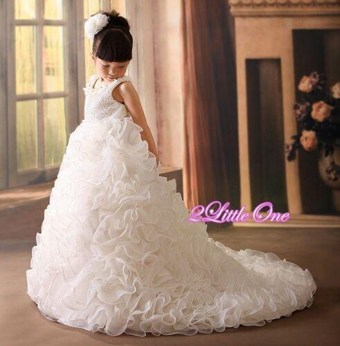 Ivory Ball Gown Dress w// Train Wedding Flower Girl Formal Occasion Sz 2T-10 #238