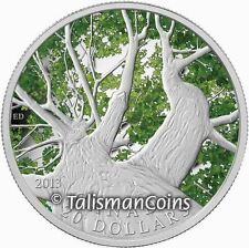 Canada 2013 Color $20 Pure Silver Maple Leaf Spring Maple Canopy Flora Proof