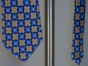 Geoffrey-Beene-Silk-Neck-Tie-Blue-Gold-Cream-Mens-New