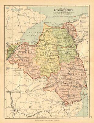 Co Londonderry Antique County Map Ulster Northern Ireland Bartholomew C1902 Ebay