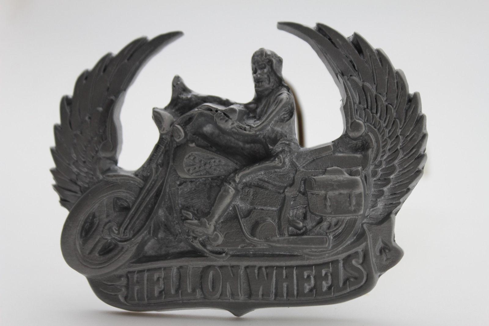 Herren Mode Gürtelschnalle Silber Metall Motorrad Biker Hell Räder Skelett Wings