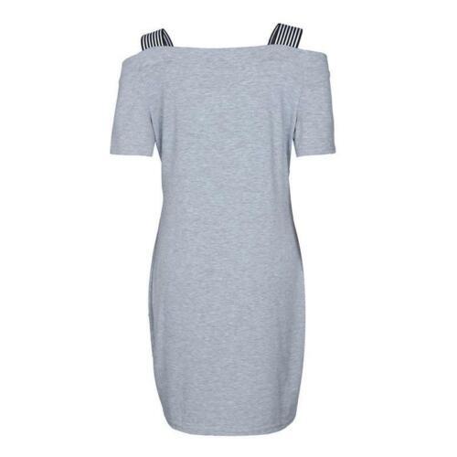 Womens Off Shoulder V-neck Dress Ladies Ruffles Casual Summer Denim Dress HY