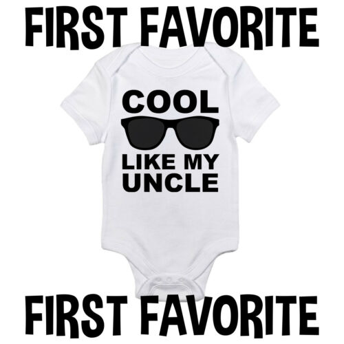 Cool Like My Uncle Baby Onesie Shirt Shower Gift Funny Newborn Clothes Gerber