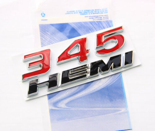 1x OEM 345 HEMI Emblem Badge 3D logo for Dodge Challenger Chrysle Glossy Red BK