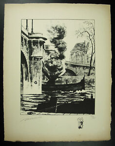 R-Bayard-view-of-the-Bridge-and-its-boats-Paris-original-engraving-signed-1947