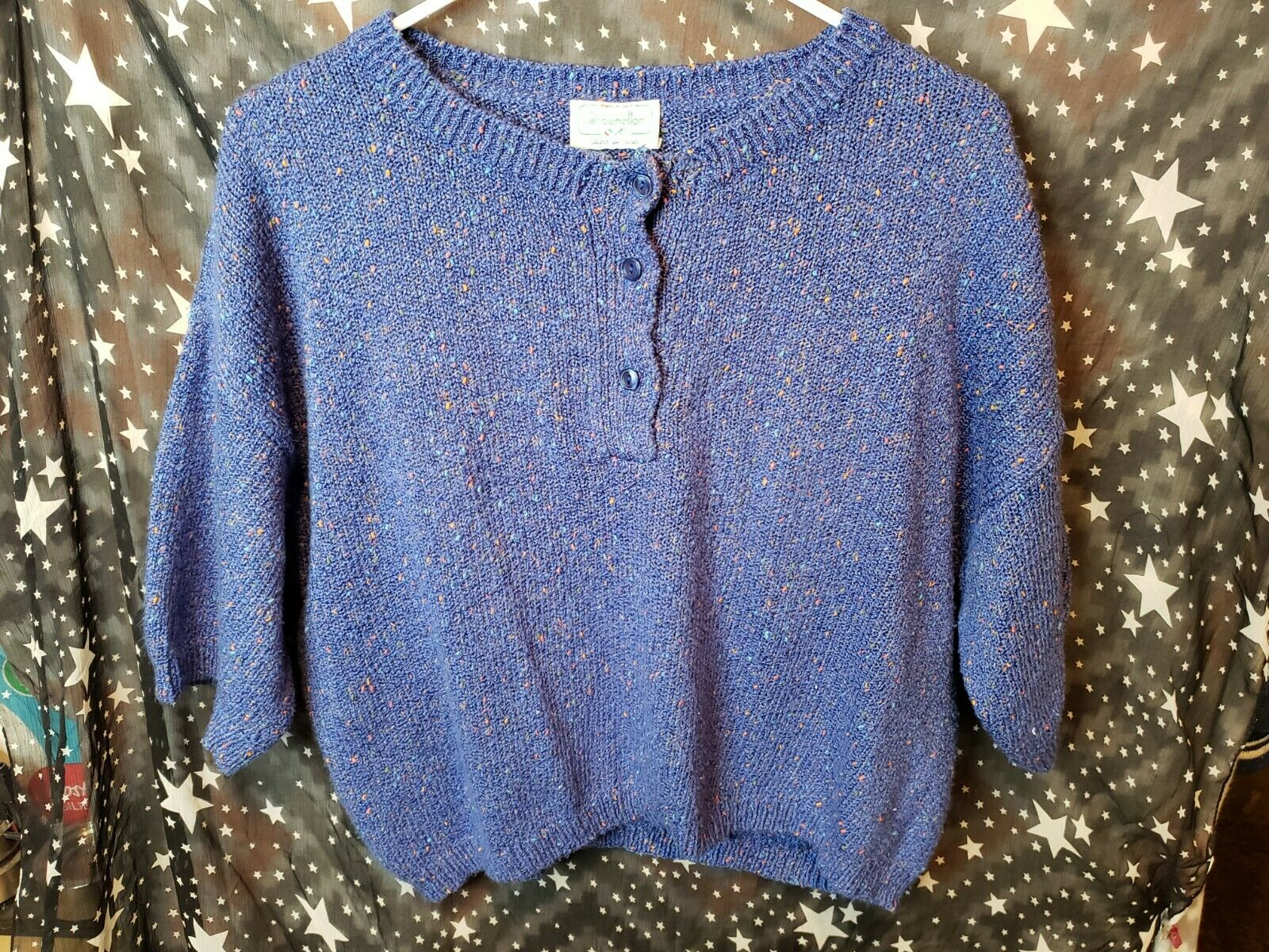 Benetton Cropped Sweater Blue Pullover Size Medium Made in Italy Vintage