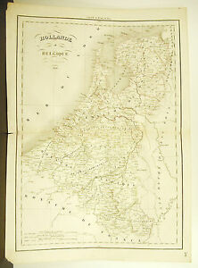 Holland-Belgium-Card-Antique-1838-Ancient-Map-17-11-16in-15in