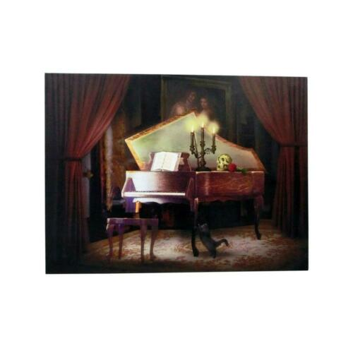Halloween Haunted Piano LED Canvas with Sound Home Holiday 15 in X 20 in