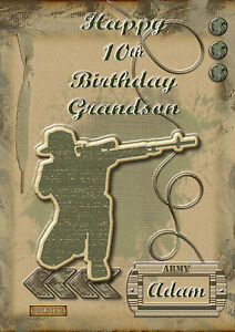 Personalised Birthday Card A5 Size Army Soldier Son Grandson Nephew
