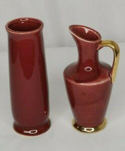 Vintage Burgundy Vase Ewer Pitcher Pottery