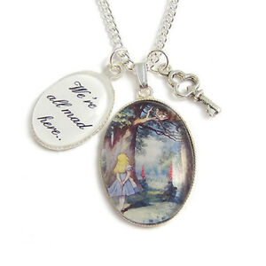Cheshire-cat-necklace-Alice-in-Wonderland-We-039-re-all-mad-here-charm-KEY-TEA-party