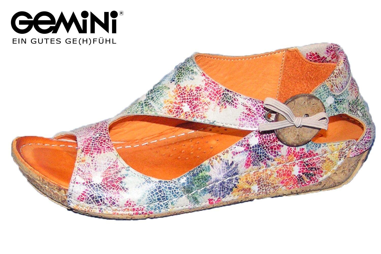 Gemini Damen Sandalee Bunt geblümt Leder Sommer Schuhe Kitty 32029-004 NEU